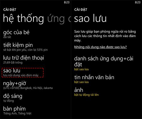 Hướng dẫn sao lưu và khôi phục dữ liệu trên thiết bị  Windows Phone 8
