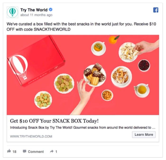 quảng cáo facebook của Try The World