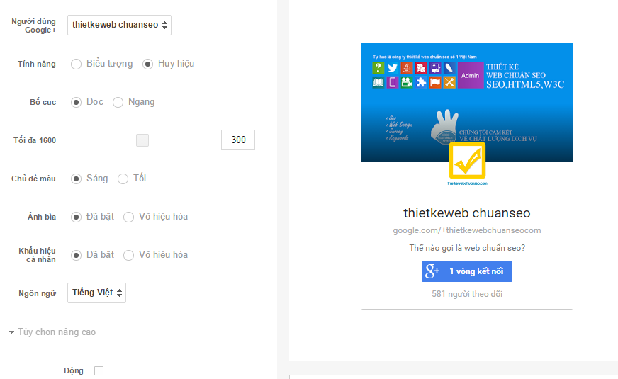 Chèn Fanpage Google+ vào web