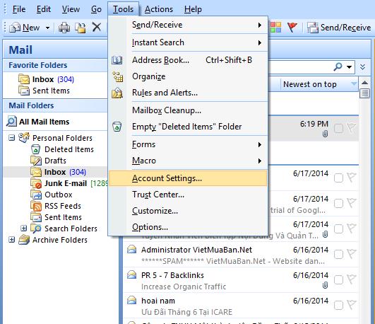 Hướng dẫn cài đặt Outlook & Cài đặt outlook 2010 cho mail công ty