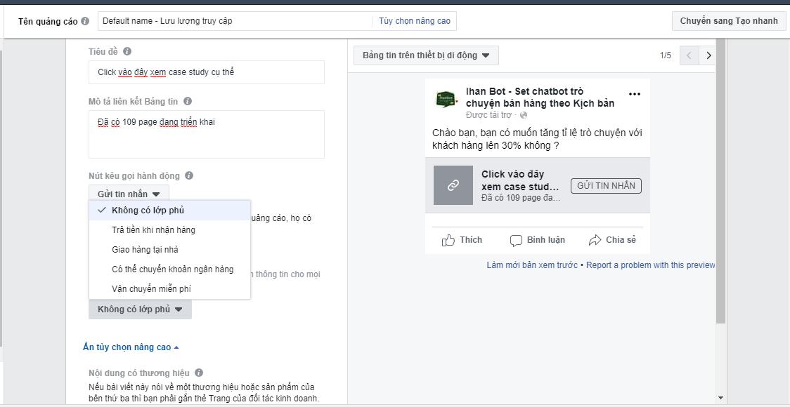Hướng dẫn tạo quảng cáo messenger facebook & Chạy quảng cáo tin nhắn facebook