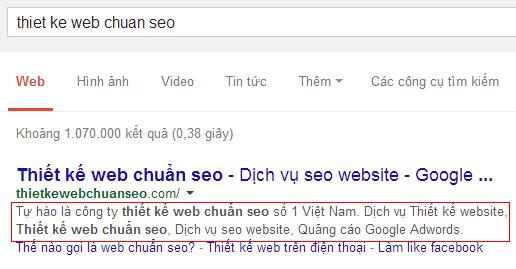 Nội dung thể Description ảnh hưởng đến xếp hạng từ khóa của Google?