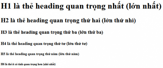 Thẻ heading trong seo